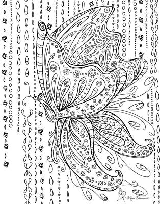 Coloring Page With Beautiful Butterfly Drawing By Megan Duncanson Art Print