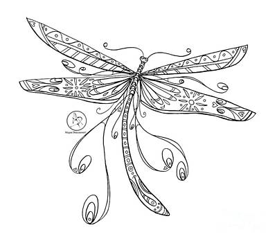 Coloring Page With Beautiful Dragonfly Drawing By Megan Duncanson Art Print