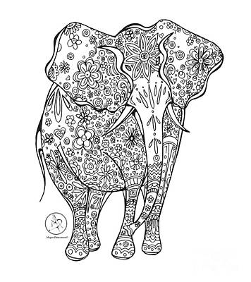 Reliefs Drawing - Coloring Page With Beautiful Elephant Drawing By Megan Duncanson by Megan Duncanson