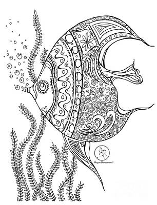 Reliefs Drawing - Coloring Page With Beautiful Fish Drawing By Megan Duncanson by Megan Duncanson