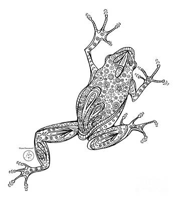 Coloring Page With Beautiful Frog Drawing By Megan Duncanson Art Print by Megan Duncanson