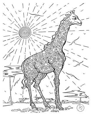 Coloring Page With Beautiful Giraffe Drawing By Megan Duncanson Art Print