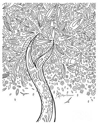 Coloring Page With Beautiful In The Garden 5 Drawing By Megan Duncanson Art Print