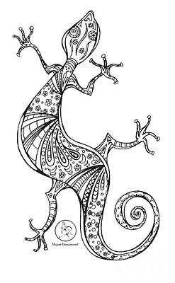 Coloring Page With Beautiful Lizard Drawing By Megan Duncanson Art Print by Megan Duncanson