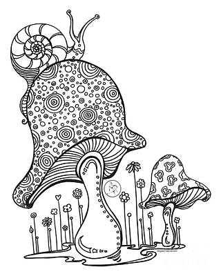Adult Coloring Book Drawing - Coloring Page With Beautiful Mushroom And Snail Drawing By Megan Duncanson by Megan Duncanson