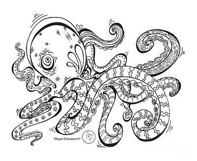Beach Art Drawing - Coloring Page With Beautiful Octopus Drawing By Megan Duncanson by Megan Duncanson