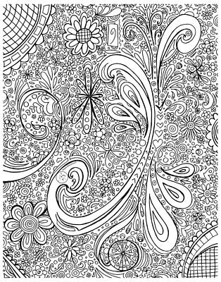 Reliefs Drawing - Coloring Page With Beautiful Swirls Drawing By Megan Duncanson by Megan Duncanson