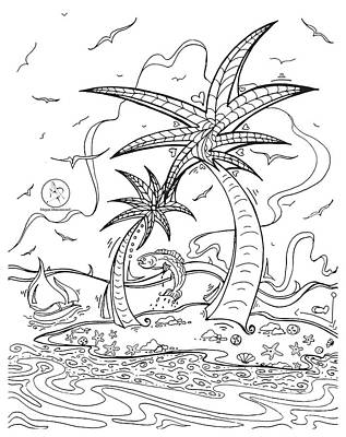Coloring Page With Beautiful Tropical Island Drawing By Megan Duncanson Art Print by Megan Duncanson