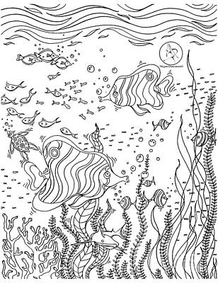 Coloring Page With Beautiful Underwater Scene Drawing By Megan Duncanson Art Print