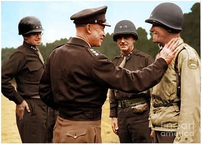 colorization WW2 Eisenhower Art Print by John Wills
