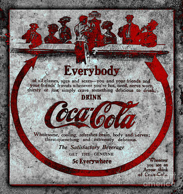 Coca-cola Signs Photograph - Colorized Antique Coca Cola Advertisement by John Stephens