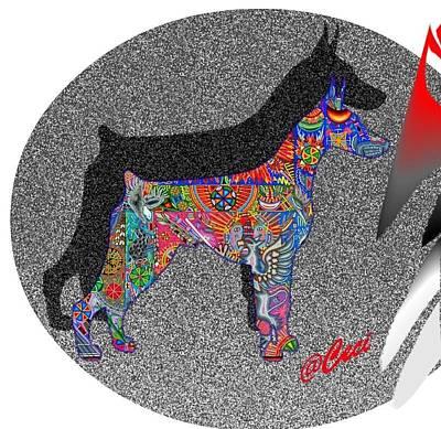 Doberman Pinscher Pop Art Digital Art - Doberman Mystical Colors by Maria C Martinez