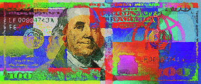 Digital Art - Colorized One Hundred U.s. Dollar Bill - Neo-expressionist $100 U S D by Serge Averbukh