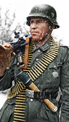 Digital Art - Colorized Ww2 German Mg'er by John Wills