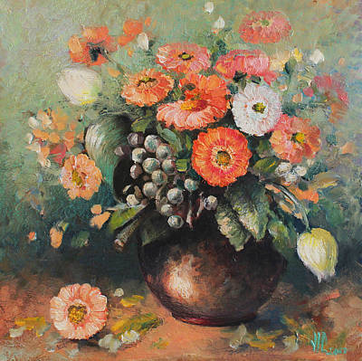 Painting - Coloroful Zinnias Bouqet by Vali Irina Ciobanu