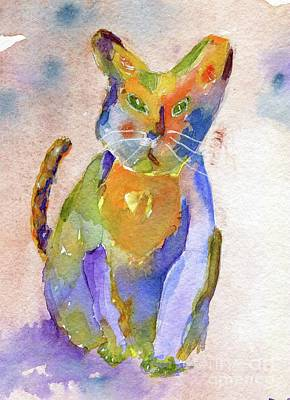 Painting - Colorpatch Cat by Andrea Rubinstein