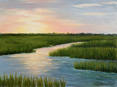 Reflections Of Sky In Water Painting - Colors Of A  Sunset by Audrey McLeod