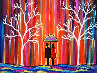 Painting - Colors Of Love Romantic Colorful Rainy Painting by Manjiri Kanvinde