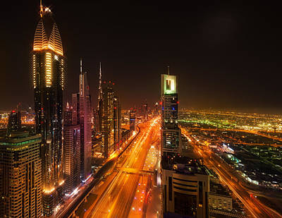 City Of Dubai Photograph - Colors Of Midnight In Dubai by Elena Riim