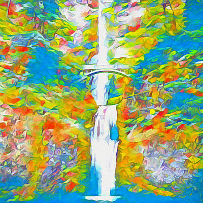 Oregon State Painting - Colors Of Multnomah Falls by Dan Sproul