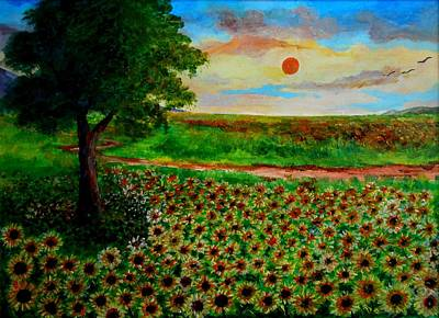 Painting - Sunflowers In Sunset by Constantinos Charalampopoulos