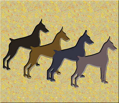 Abstract Of Dogs Mixed Media - Dobermans,colors Of The Soul by Maria C Martinez