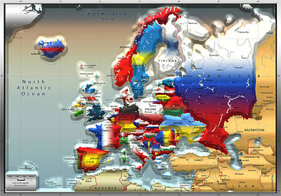 Digital Art - Colors Of The World - Modern Portrait Of Modern Europe - 3d Map by Serge Averbukh