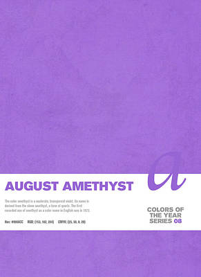 Color Mixed Media - Colors Of The Year Series 08 Graphic Design August Amethyst by Design Turnpike