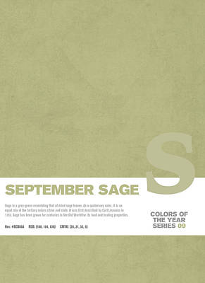 Color Mixed Media - Colors Of The Year Series 09 Graphic Design September Sage by Design Turnpike