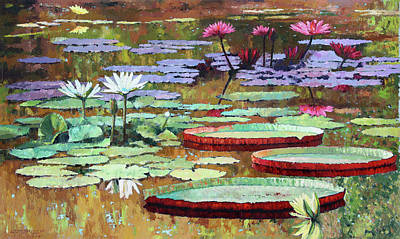 Painting - Colors On The Lily Pond by John Lautermilch