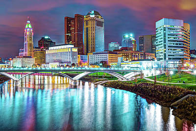 Photograph - Colors Over Columbus Ohio City Skyline by Gregory Ballos