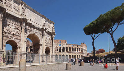Photograph - Colosseum And Titus Arch Rome by Rudi Prott
