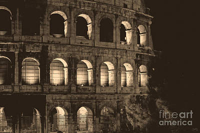 Photograph - Colosseum At Night In Sepia by Prints of Italy