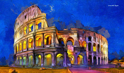 Rome Digital Art - Colosseum - Da by Leonardo Digenio