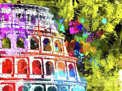 Ancient Rome Mixed Media - Colosseum Grunge by Daniel Janda