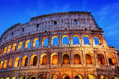 Photograph - Colosseum In Rome At Night by Michal Bednarek