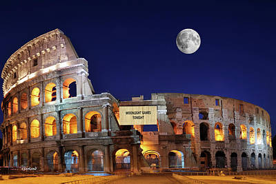 Travelling Mixed Media - Colosseum Moonlight Games Tonight by Garland Johnson