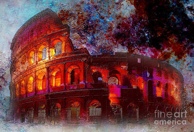 Abstract Sights Painting - Colosseum Rome Italy   by Gull G