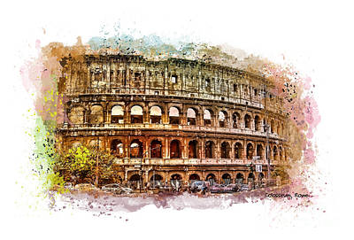 Metro Art Mixed Media - Colosseum Rome by Justyna JBJart