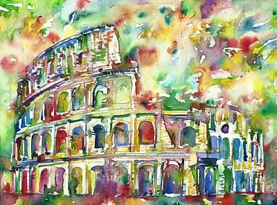 Painting - Colosseum - Watercolor Painting by Fabrizio Cassetta