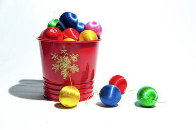 Coloured Baubles In A Pot Art Print