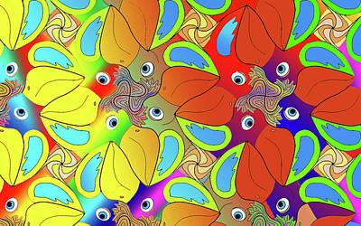 Digital Art - Coloured birds by Rosa Dorenbos