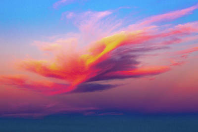 Photograph - Coloured Feather Clouds by Robert Caddy