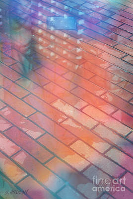 Photograph - colourful abstract urban surrealism - Walking Reflections by Sharon Hudson
