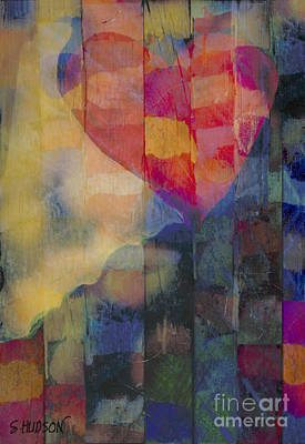 Painting - colourful abstract Valentine - Heart Afloat by Sharon Hudson