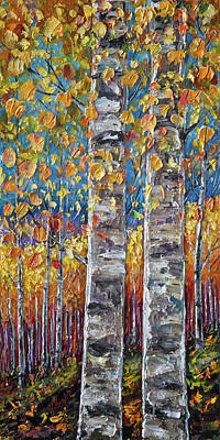 Digital Art - Colourful Autumn Aspen Trees By Lena Owens @olena Art by OLena Art Brand