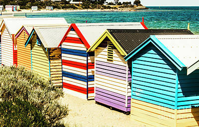 Colourful Bathing Sheds Art Print