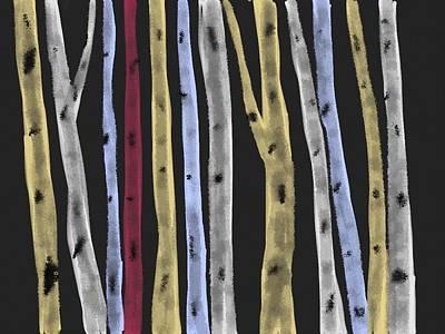 Digital Art - Colourful Birches by Paula Brown