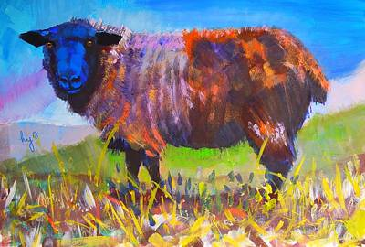 Mixed Media - Colourful Black Sheep Painting by Mike Jory