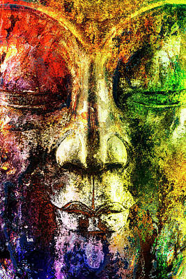 Digital Art - Colourful Buddha Painted On Wood by 2bhappy4ever